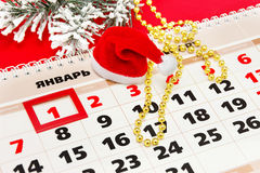 Kalender mit den Weihnachtsfeiertagen und den Partei-Versorgungen Lizenzfreies Stockbild