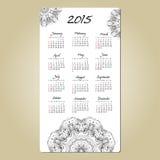 Kalender mit der runden Verzierung der Mandala 2015-jährig Lizenzfreie Stockfotos
