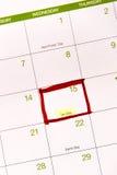 Kalender mit einem roten Kasten gegen 15. April Stockbild