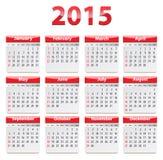 Kalender mit 2015 Englisch Lizenzfreies Stockfoto