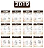 Kalender mit 2019 Englisch auf heftigen Papieren stock abbildung