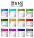 Kalender mit 2019 Englisch mit bunten Aufklebern stock abbildung