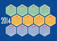 Kalender mit 2014 Englisch mit Hexagonen Stockbild