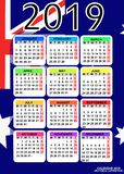 Kalender 2019 mit Flagge von Australien Vektor stockfoto