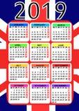 Kalender 2019 mit Flagge von England lizenzfreies stockbild