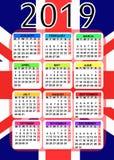 Kalender 2019 mit Flagge von England stockfotografie