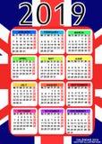 Kalender 2019 mit Flagge von England Vektor stockbilder