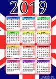 Kalender 2019 mit Flagge von England Vektor stockfotografie