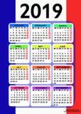 Kalender 2019 mit Flagge von Frankreich Vektor lizenzfreie stockfotos