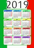 Kalender 2019 mit Flagge von Italien lizenzfreies stockfoto