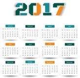 Kalender 2017 mit Ihrem Hintergrund Stockbilder
