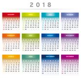 Kalender 2018 mit Kästen im Regenbogen färbt 4 Spalten - Englisch Stockbilder