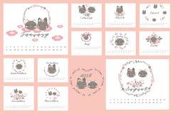 Kalender 2018 mit Katze und Blumen Stockfoto