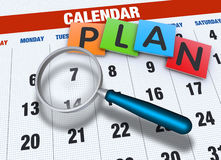 Kalender mit Lupe Lizenzfreie Stockbilder