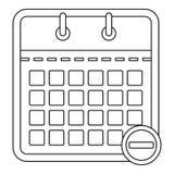 Kalender mit Minusikone, Entwurfsart Lizenzfreies Stockbild