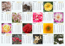 Kalender 2017 mit Naturbildern: enthält die Monate und die Tage Stockfotografie