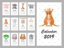 Kalender 2019 mit netten Tieren Auch im corel abgehobenen Betrag stock abbildung