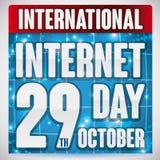 Kalender mit Netzen für internationale Internet-Tagesfeier, Vektor-Illustration Lizenzfreie Stockfotografie