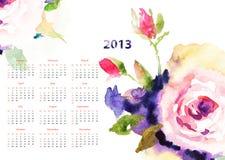 Kalender mit Roseblumen Stockbild