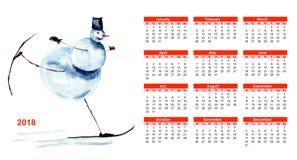 Kalender 2018 mit Schneemann Stockfotografie