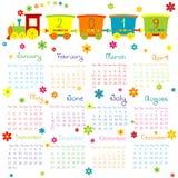 Kalender 2019 mit Spielzeugzug und -blumen für Kinder stock abbildung