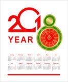Kalender mit 2018 Uhren Stockbilder