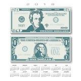 Kalender 2018 mit zwei US-Rechnungen groß vereinfacht Lizenzfreie Stockbilder