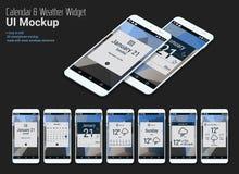 Kalender Mobiele App Widgets UI Ontwerpen met Smartphone-Modellen Stock Afbeeldingen