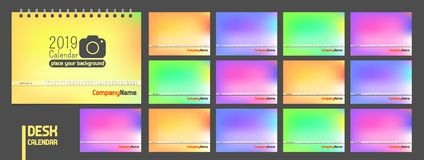 Kalender 2019 Moderne minimale stilvolle Universalität für alle Landvektor-Farbschablone lizenzfreie abbildung