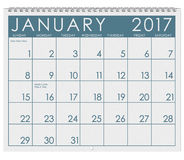 2017: Kalender: Monat Januar mit neues Jahr ` s Tag Lizenzfreie Stockfotografie