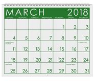 Kalender 2018: Monat März mit St- Patrick` s Tag stock abbildung