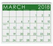 Kalender 2018: Monat März mit St- Patrick` s Tag Lizenzfreie Stockfotografie