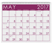 2017: Kalender: Monat Mai Lizenzfreies Stockbild
