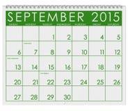 Kalender 2015: Monat September Lizenzfreie Stockbilder