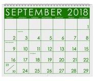 Kalender 2018: Monat September mit Werktag Stockbild