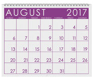 2017: Kalender: Monat von August In Summer Lizenzfreies Stockbild