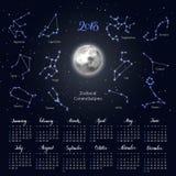 Kalender, Mond, Tierkreiskonstellationen, 2018, Hintergrund des nächtlichen Himmels, beschriftend Lizenzfreie Stockfotografie