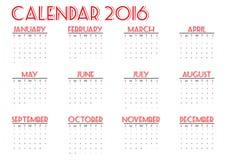 Kalender 2016 nieuw jaar op witte achtergrond, de Zondag van het Weekbegin, gelukkige kleur, illustratie Stock Fotografie
