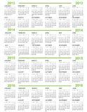 Kalender, Nieuwjaar 2013, 2014, 2015, 2016 Stock Afbeeldingen