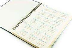 Kalender in notitieboekje royalty-vrije stock afbeelding