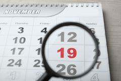 Kalender, am 19. November Stockfoto