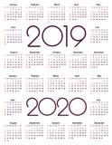 Kalender 2019 och 2020 år stock illustrationer