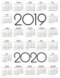Kalender 2019 och 2020 år Enkel vektormall Brevpapperdesignmall Kalenderdesign i svartvita färger, stock illustrationer