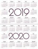 Kalender 2019 och 2020 år Enkel vektormall Brevpapperdesignmall Kalenderdesign i svartvita färger, royaltyfri illustrationer