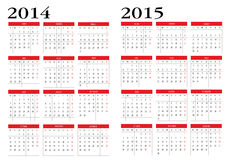 Kalender 2014 och 2015 vektor illustrationer