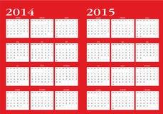 Kalender 2014 och 2015 royaltyfri illustrationer