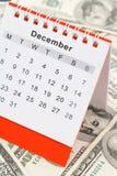 Kalender och dollar royaltyfri foto