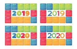 Kalender 2019 och grundläggande raster 2020 för vektor Färgrik design royaltyfri illustrationer