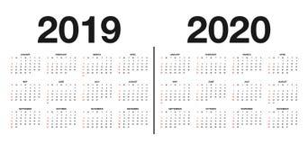 Kalender 2019 och mall 2020 Calendar designen i svartvita färger, ferier i röda färger royaltyfri illustrationer