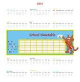Kalender 2015 och skolaschema Royaltyfri Fotografi